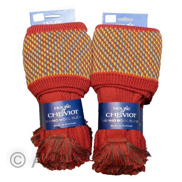 Exklusiver Merino Wollstrumpf von House of Cheviot - Style: Tayside (Brick Red)