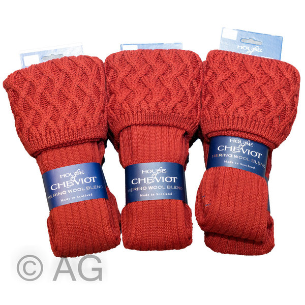 Exklusiver Merino Wollstrumpf von House of Cheviot - Style: Rannoch (Brick Red)
